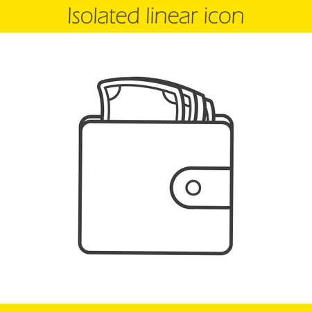 Portfel z ikoną liniowy pieniądze. Cienka linia ilustracji. Męski symbol konturu torebki. Wektor na białym tle zarys rysunku