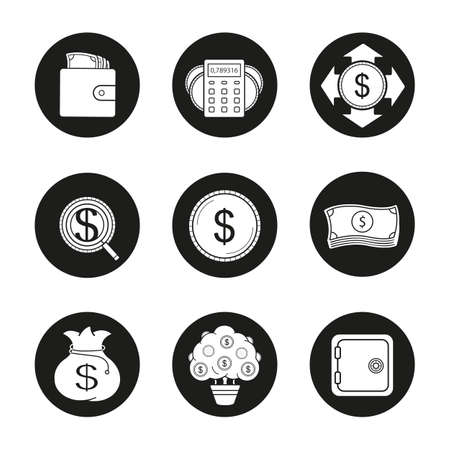 investors: Banking and finance icons set. Purse with banknotes, calculations, money spending, investors search, dollar coin and bills stack, money bag, money tree. Vector white illustrations in black circles