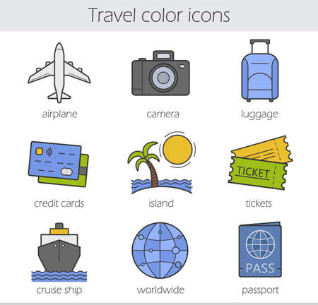 lugagge: Travelling color icons set. Airplane, camera, lugagge, credit cards, island, tickets, cruise ship, worldwide and passport symbols. Vector isolated illustrations