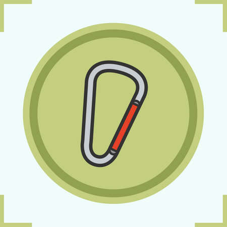 mountaineering: Carabiner color icon. Mountaineering. Spring hook vector isolated illustration