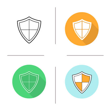 chivalry: Shield icon. Flat design, linear and color styles. Protection, security, defense, guard, armor and safety pictogram. Isolated vector illustrations