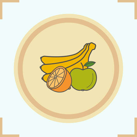 halved: Fruit color icon. Bunch of bananas, halved lemon and apple. Grocery store products vector isolated illustration Illustration