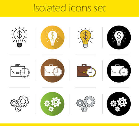 workday: Business concepts icons set. Flat design, linear, black and color styles. Successful idea and work time symbols, cogwheels. Isolated vector illustrations Illustration