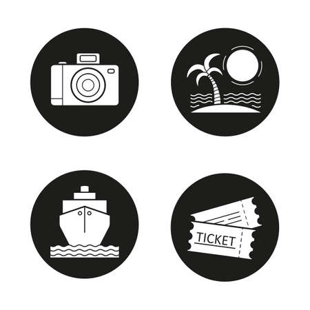 slr: Travelling icons set. Holidays. Slr photo camera, sunny island with palm, cruise ship, tickets. Vector white illustrations in black circles Illustration