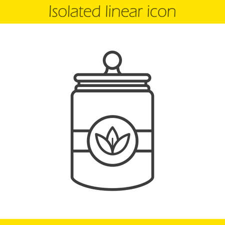 Tea jar linear icon. Loose tea leaves thin line illustration. Tea container contour symbol. Vector isolated outline drawing Illustration