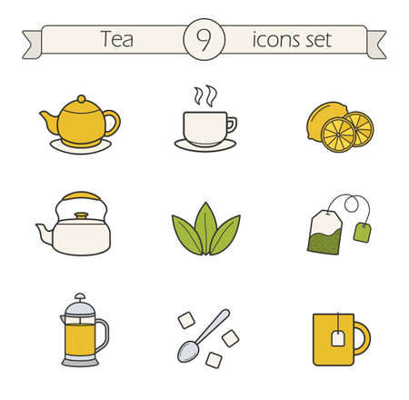 teabag: Tea color icons set. Teapot, steaming cup, lemons, kettle, loose tea herbs, tea bag, french press, spoon with raffinade and mug. Vector isolated illustrations