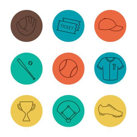 Baseball equipment linear icons set. Softball tickets, cap, trophy, bat, ball, shirt, shoe, field, mitt. Thin line on color circles. Vector illustrations Illustration