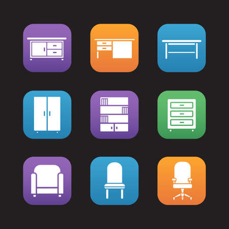 furniture computer: Furniture items flat design icons set. Kitchen counter, desk, classic wooden table, wardrobe, bookcase, dresser, armchair, computer chair. Web application interface. Vector Illustration