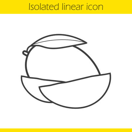 halved: Mango linear icon. Thin line illustration. Mango slices contour symbol. Vector isolated outline drawing Illustration