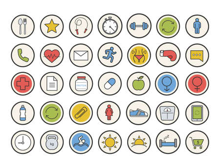 gender symbols: Sport and fitness color icons set. Healthy lifestyle. Gym training equipment. Daily timetable, healthcare, organizer, healthy diet and gender symbols. Vector isolated illustrations