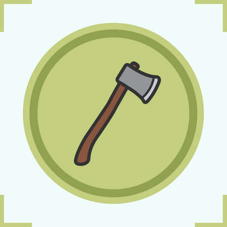 hatchet: Axe color icon. Lumberjack ax. Hatchet vector isolated illustration