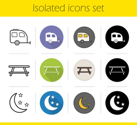 night table: Camping icons set. Flat design, linear, black and color styles. Trailer, wooden table and night symbols. Travelling isolated vector illustrations
