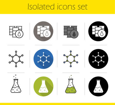 chemical industry: Petroleum industry icons set. Flat design, linear, black and color styles. Oil barrels, molecular structure, chemical reaction. Flask with poison and molecule isolated vector illustrations