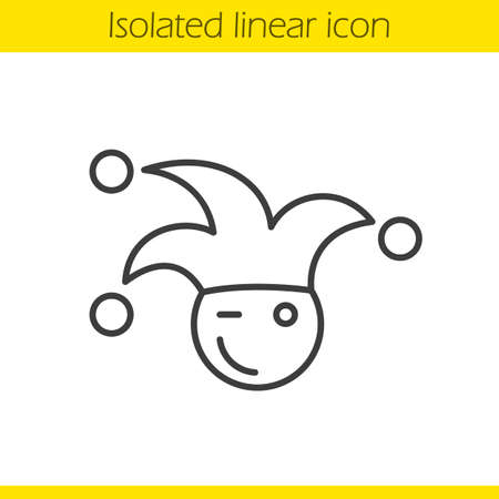 buffoon: Jester linear icon. Winking clown thin line illustration. April fools day buffoon. Contour symbol. Vector isolated outline drawing