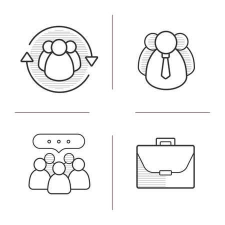 icônes concepts affaires linéaires définis. employés de l'entreprise, le leadership, la communication d'équipe et les symboles du porte-documents. Ligne fine. illustrations vecteurs isolés Vecteurs