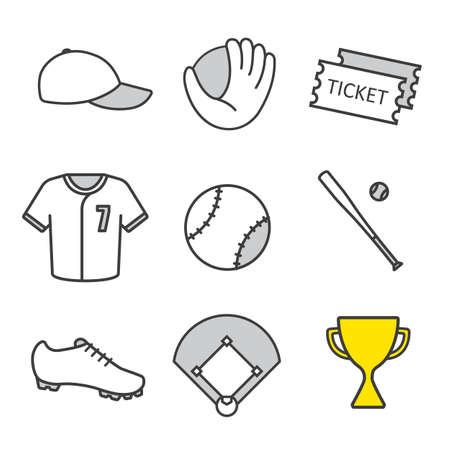 mitt: Baseball equipment linear icons set. Softball players kit. Game tickets, cap, gold trophy, bat, ball, shirt, shoe, field, mitt. Thin line contour symbols. Isolated vector illustrations