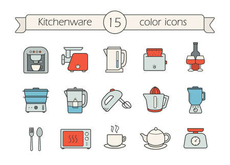 Kitchenware color icons set. cCffee machine, electric mincer and kettle, toaster,steam cooker, water filter, mixer, juicer, blender, spoon and fork, microwave oven. Vector isolated illustrations