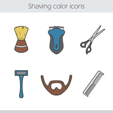shaving brush: Shaving color icons set. Shaving brush, electric shaver, razor, beard, scissors and comb. Barber shop accessories. Vector isolated illustrations