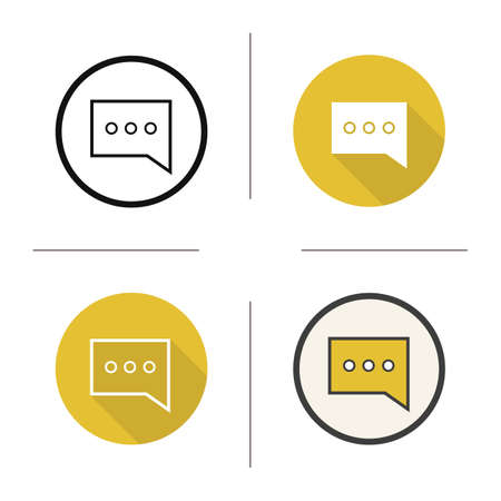 chat box: Sms symbol icon. Flat design, linear and color styles. Message bubble. Chat box isolated vector illustrations Illustration