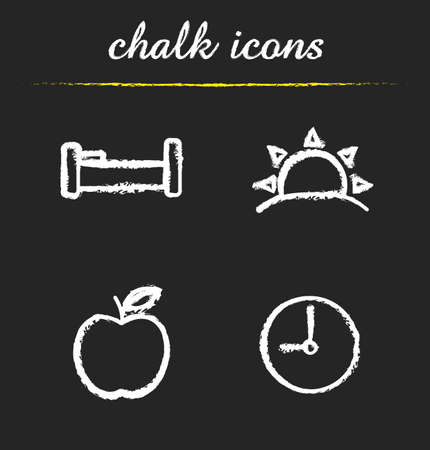 breakfast in bed: Daily timetable icons set. Bed, sunrise, apple and clock. Waking up, morning time and breakfast symbols. Healthy lifestyle isolated vector chalkboard drawings