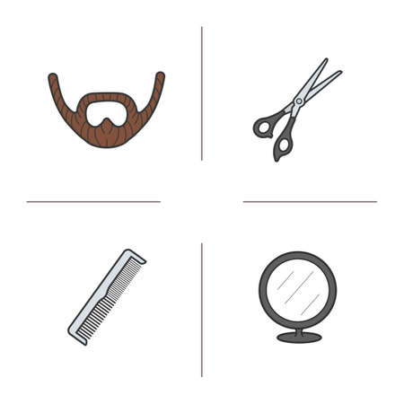 scissors comb: Barber shop color icons set. Beard, scissors, comb and round mirror. Vector isolated illustrations