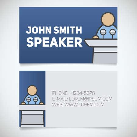spokesman: Business card print template with speaker logo. Orator. Stationery design concept. Vector illustration Illustration