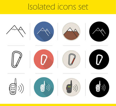 mountaineering: Hiking icons set. Flat design, linear, black and color styles. Mountaineering equipment. Mountain range, carabiner, spring hook, radio set. Climbing isolated vector illustrations Illustration