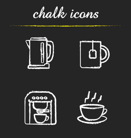 electric tea kettle: Tea and coffee icons set. Electric kettle, mug with teabag, espresso machine and steming cup on plate illustrations. Isolated vector chalkboard drawings