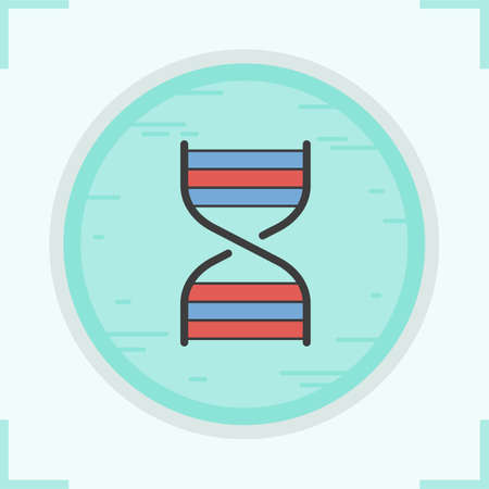 DNA strand color icon. DNA helix. Human genetics research. Vector isolated illustration Illustration