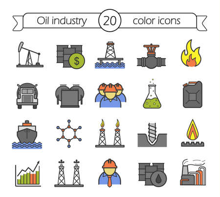 drill bit: Oil industry color icons set. Oil platform, tanker, storage, worker, barrel, cargo ship, gas pipeline, flame, petrol trade, drill bit. Vector isolated illustrations