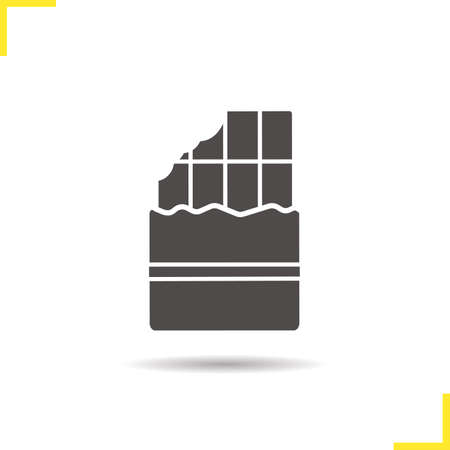 bitten: Bitten chocolate bar icon. Drop shadow silhouette symbol. Negative space. Vector isolated illustration Illustration