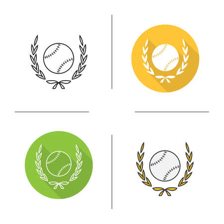 premier league: Baseball ball in laurel wreath icon. Flat design, linear and color styles. Softball championship symbol. Isolated vector illustrations