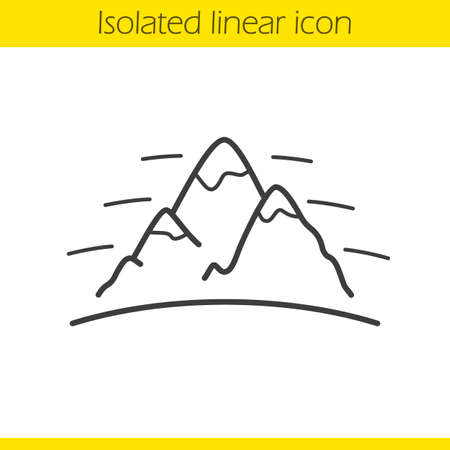 mountaineering: Mountains linear icon. International Day Of Mountaineering emblem. Thin line illustration. Alpinism and hiking contour symbol. Vector isolated outline drawing Illustration