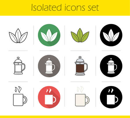 Tea icons set. Flat design, linear, black and color styles. Loose tea leaves, french press, hot steamy mug. Isolated vector illustrations Illustration