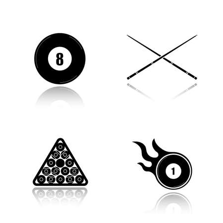 bola ocho: Billiard drop shadow black icons set. Cuesports accessories. Eight ball, crossed cues, ball rack, burning ball. Pool equipment. Isolated vector illustrations
