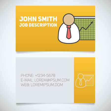 stockbroker: Business card print template with presentation graph logo. Easy edit. Marketer. Stockbroker. Jobber. Analyst. Manager. Stationery design concept. Vector illustration