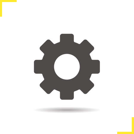 preferences: Gear icon. Drop shadow cogwheel silhouette symbol. Options, settings and preferences sign. Vector isolated illustration