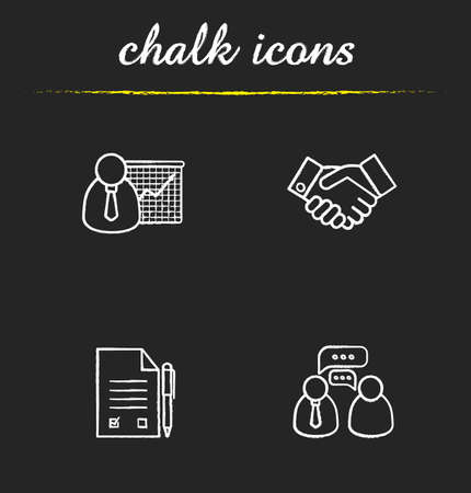 signed: Business icons set. Presentation with graph, handshake agreement symbol, signed contract with pen, business conversation. Isolated vector chalkboard illustrations Illustration