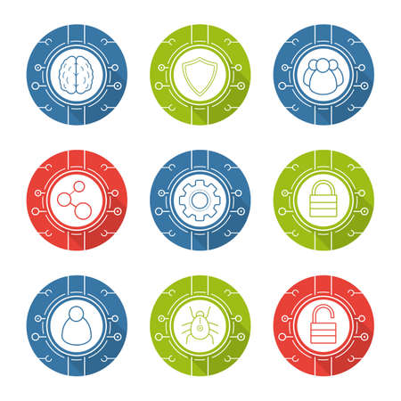 Cyber security flat design long shadow icons set. Cloud computing. Neural networks, user group, digital connections, network settings, access denied symbols. Thin line on color circles. Vector