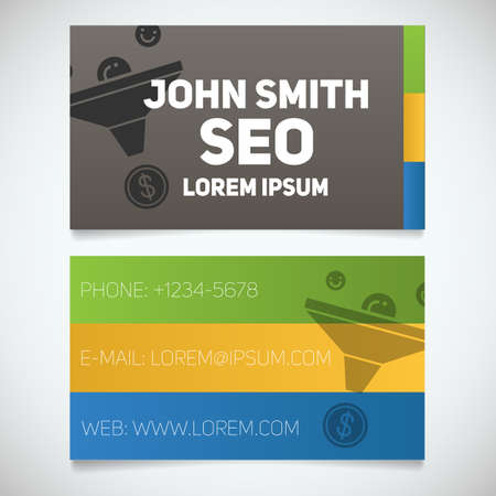 sales manager: Business card print template with sales funnel logo. Easy edit. Seo manager. Marketer. Stationery design concept. Vector illustration