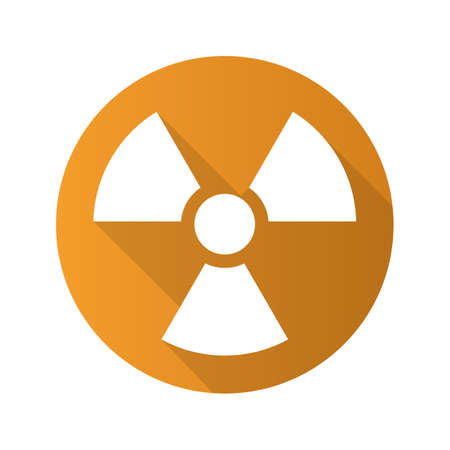 nuke plant: Radiation sign flat design long shadow icon. Radioactive danger symbol. Nuclear energy. Vector silhouette symbol Illustration