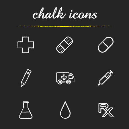 pill prescription: Hospital icons set. Cross, adhesive band aid, pill, pencil, emergency car, syringe, beaker with liquid, drop, rx prescription. Medical illustrations. Isolated vector chalkboard drawings Illustration