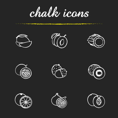 halved: Fruit pairs icons set. Mango pieces, halved plum, open coconut, cutted passion fruit, orange, fig, peach, peeled litchi, kiwifruit half illustrations. Isolated vector chalkboard drawings