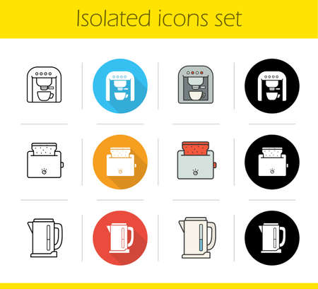 toasted bread: Kitchen electronics icons set. Flat design, linear, black and color styles. Kitchen appliances. Espresso coffee machine, toaster with toasted bread, electric kettle. Isolated vector illustrations