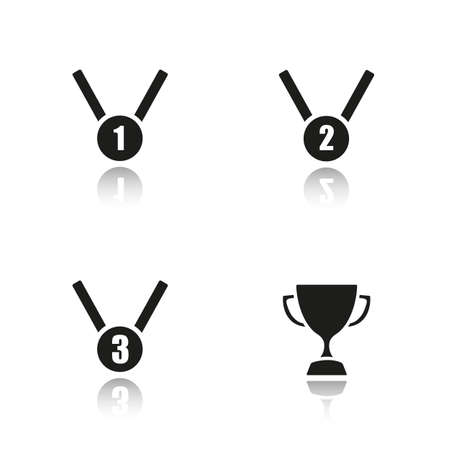 2nd: Sport awards drop shadow black icons set. 1st, 2nd and 3rd place medals, winners cup. Isolated vector illustrations Illustration