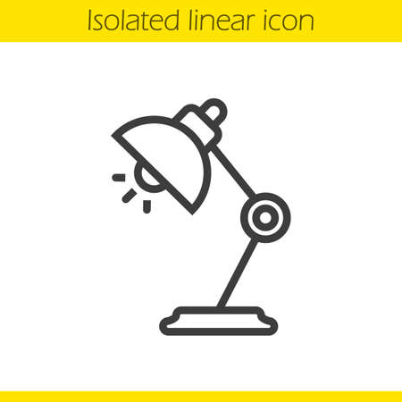 lamp outline: Table lamp linear icon. Thin line illustration. Desk lamp contour symbol. Vector isolated outline drawing Illustration