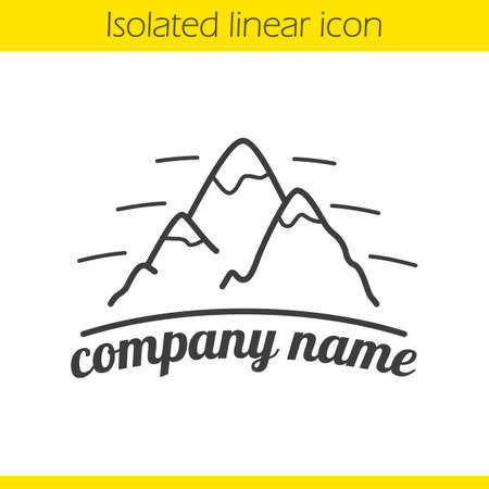 alpinism: Mountains linear logo. Thin line illustration. Hiking, mountaineering and alpinism company emblem. Contour icon. Vector isolated outline drawing Illustration