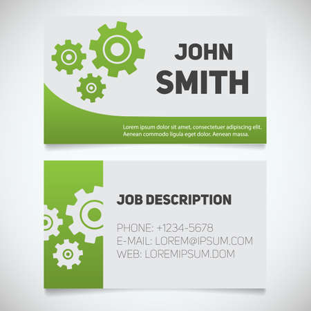 machinist: Business card print template with gears logo. Easy edit. Mechanic. Machinist. Cogwheels. Stationery design concept. Vector illustration