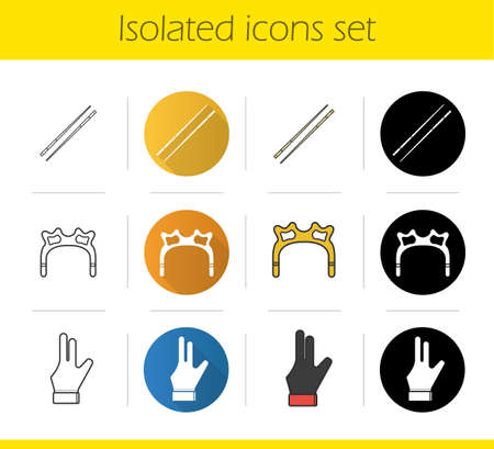 pool cues: Billiard icons set. Flat design, linear, black and color styles. Cuesports accessories. Cues, rest head, glove. Pool equipment isolated vector illustrations