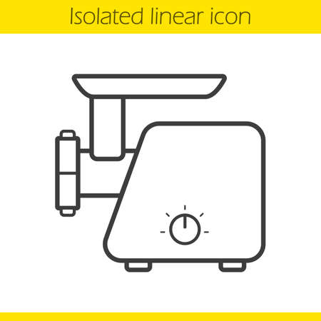 mincer: Electric mincer linear icon. Thin line illustration. Meat grinder contour symbol. Vector isolated outline drawing